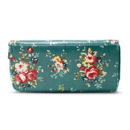 Floral Print Zipper Wallet - Violette