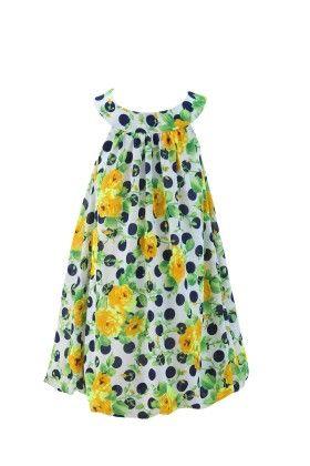 Ivory-yellow Georgette Bib Neck Line Casual Dress - Magic Fairy