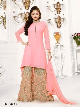 Peach Georgette Dress Material - Touch Trends Ethnic