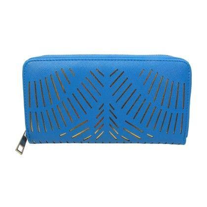 Lazer Cut Front Zip Around Wallet Blue - YOKI