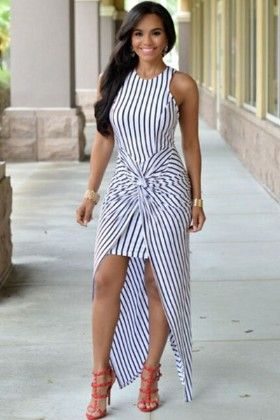 Stripes Knotted Front Dress - Enigma