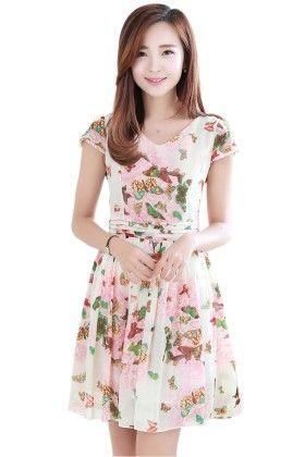 Floral Print Short Dress - Mauve Collection