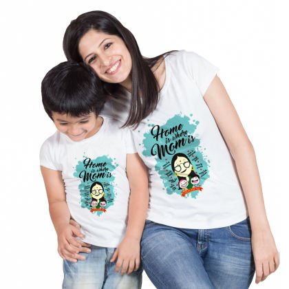 White Home Is Where Mom Is -  Cotton Tee For Mother - BonOrganik