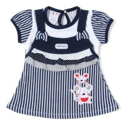 Mouse Applique Navy Stripes Cotton Frock - Hip Hip Hurray