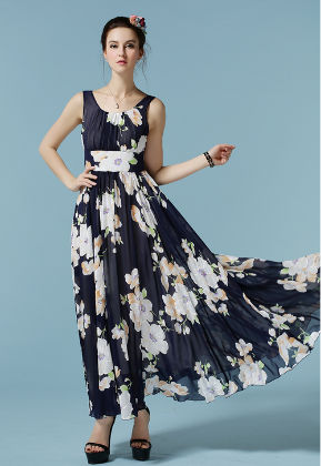 Chiffon Printed Maxi Dress - Mauve Collection
