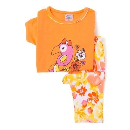 Orange Top And Floral Cotton Legging Set - Punkster