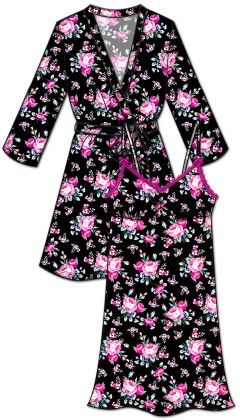 Lace Me Up Robe And Chemise Set - Pink And Black - Rene Rofe