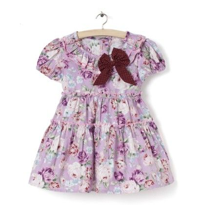 Short Sleeve With Brown Bow & Floral Print Dress - Little Fairy