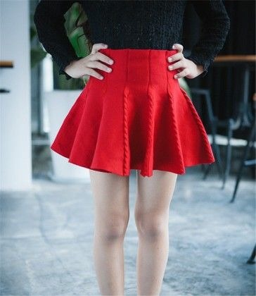 Red Knot Look Pleated Skirt - Mauve Collection