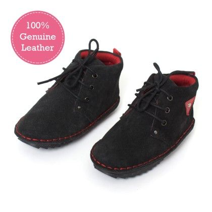 Black High Ankle Leather Boots - Tuskey Shoes