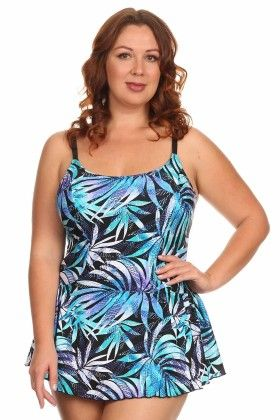 Blue-leaves Plus Size One Piece Swimdress With Adjustable Straps - Dippin Daisy
