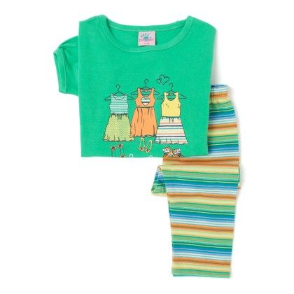 Green Top And Striped Cotton Legging Set - Punkster