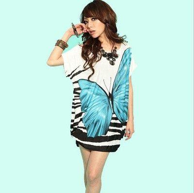 Blue & White Short Sleeve Casual Short Dress - Dell's World