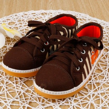 Stripe Canvas Shoes- Brown - Ritzy Step