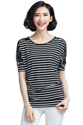 Black And White Color Striped Round Neck - Mauve Collection