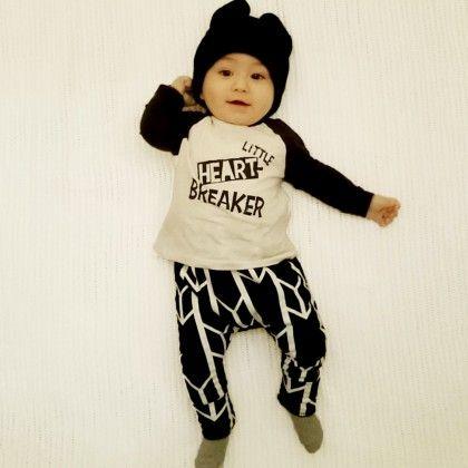 Black Little Heart Breaker Print Baby Boys Playwear Set - Petite Kids