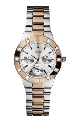 Guess Silver Tone-rose Gold Tone Glisten Watch - Guess Watches