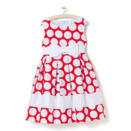 Red With White Polka Dots Dress - Party Princess