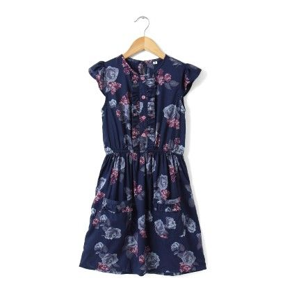 Navy Floral Print Flutter Sleeve Dress - Buttercups