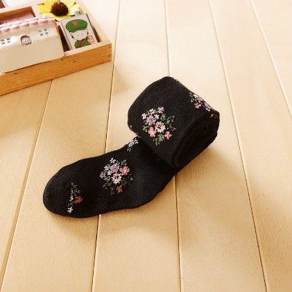 Waist High Stocking, Floral Black - Cherry Blossoms
