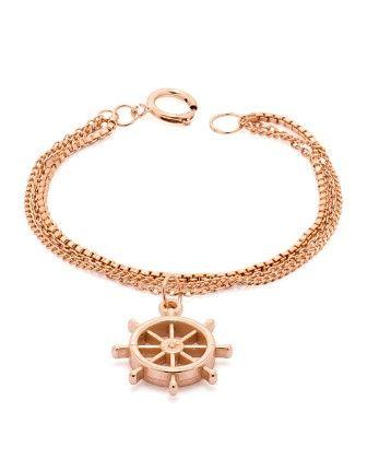Voylla Ship's Wheel Bracelet In Rose Gold Tone