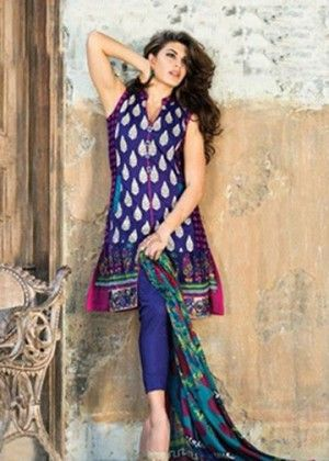 Blue With White Beautiful Printed Unstitched Suit - Mauve Collection