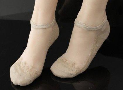 Oomph Lace Socks Cotton Lace-beige