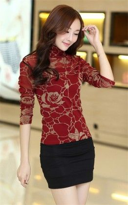 Beautiful Printing Highneck Top Maroon - Mauve Collection