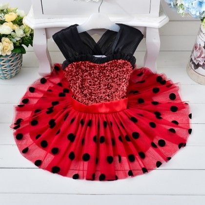 Red And Black Polka Dots Party Wear - Teddy Guppies
