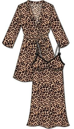 Lace Me Up Robe And Chemise Set - Beige And Black - Rene Rofe