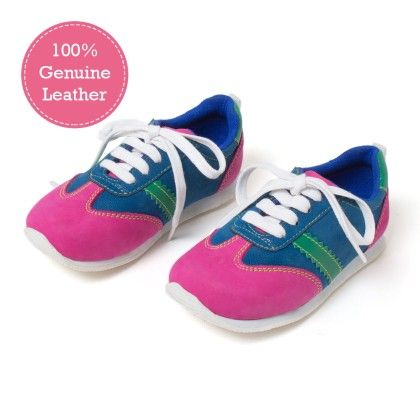 Pink And Blue Lace  Tie-up Leather Jogger Shoes - Tuskey Shoes