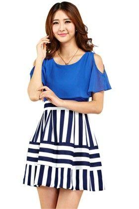 Blue Dress With Stripes - Mauve Collection