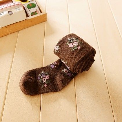 Waist High Stocking, Floral Brown - Cherry Blossoms