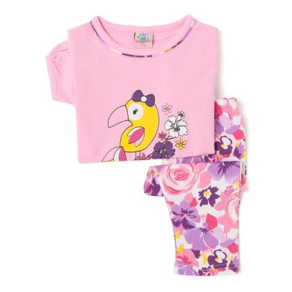 Baby Pink Top And Striped Cotton Legging Set - Punkster