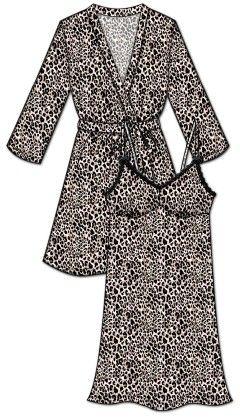 Lace Me Up Robe And Chemise Set-black - Rene Rofe