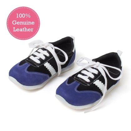 Blue And Black Lace  Tie-up Leather Jogger Shoes - Tuskey Shoes