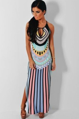 Multicolor Keyhole Detail Maxi Print Dress - Enigma