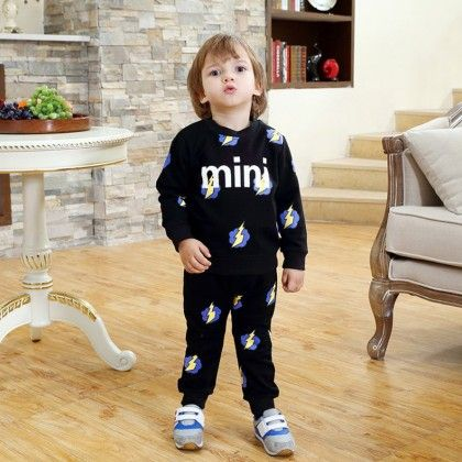 Cute Long Sleeves Printed T-shirt And Pant - 2 Pcs Set - Black - Dapper Dudes