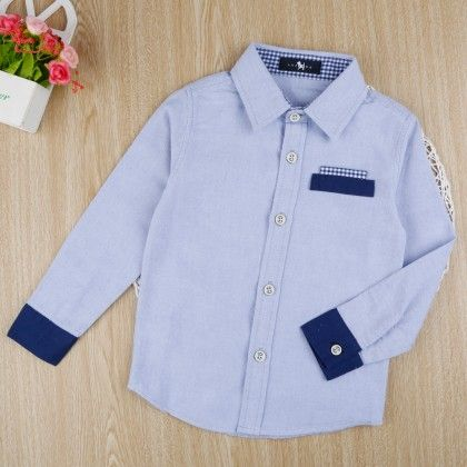 Stylish Cotton Shirt - Blue - Denny's Denim