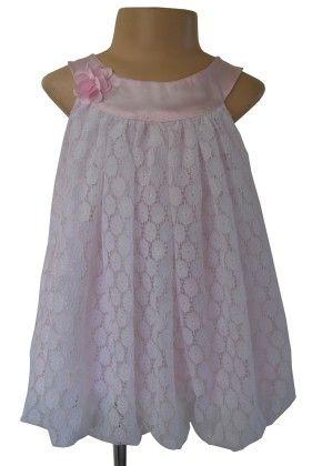 White And Pink Lace Bubble Dress - Faye