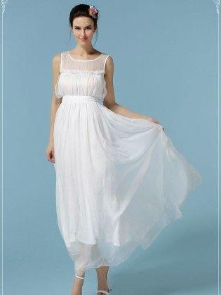 Women's  White Spring Maxi Dress - Mauve Collection
