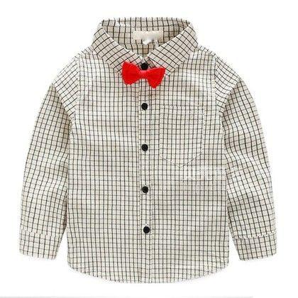 Box Print Bow Shirt - Mauve Collection