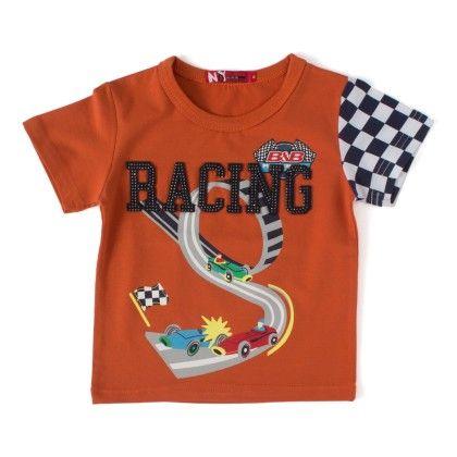 Racing  Rust Round Neck T-shirt - NODDY