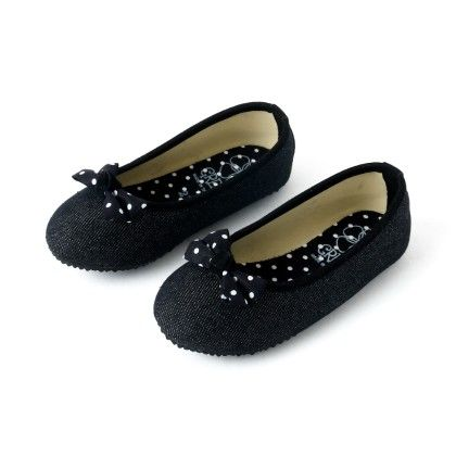 Black Polka Dot With Bow Shoes - Green