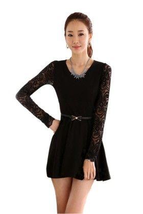 Black Short Net Sleeve Dress - Mauve Collection