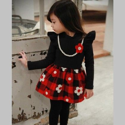 Black And Red Polo Neck Long3 Sleeve Autumn Dress - Cherry Blossoms