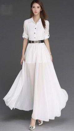 Women's Button Down White Maxi Dress - Mauve Collection