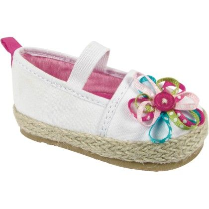 White Canvas Espadrille With Multi Color Ribbon Flower Overlay - Baby Deer
