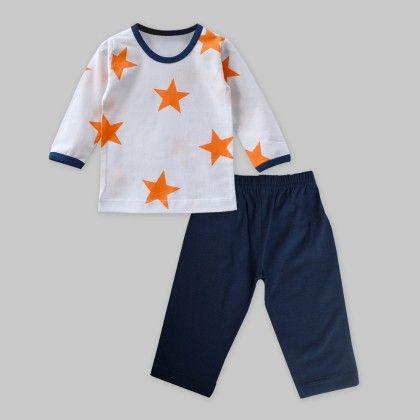Orange-navy Star Print Top And Bottom Set - A.T.U.N