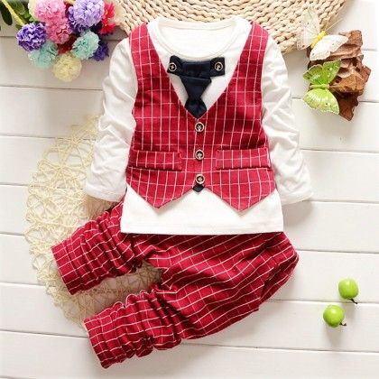 Stylish Waist Coat Attached T-shirt And Pant - Set Of 2 - Red - Teensy Weensy